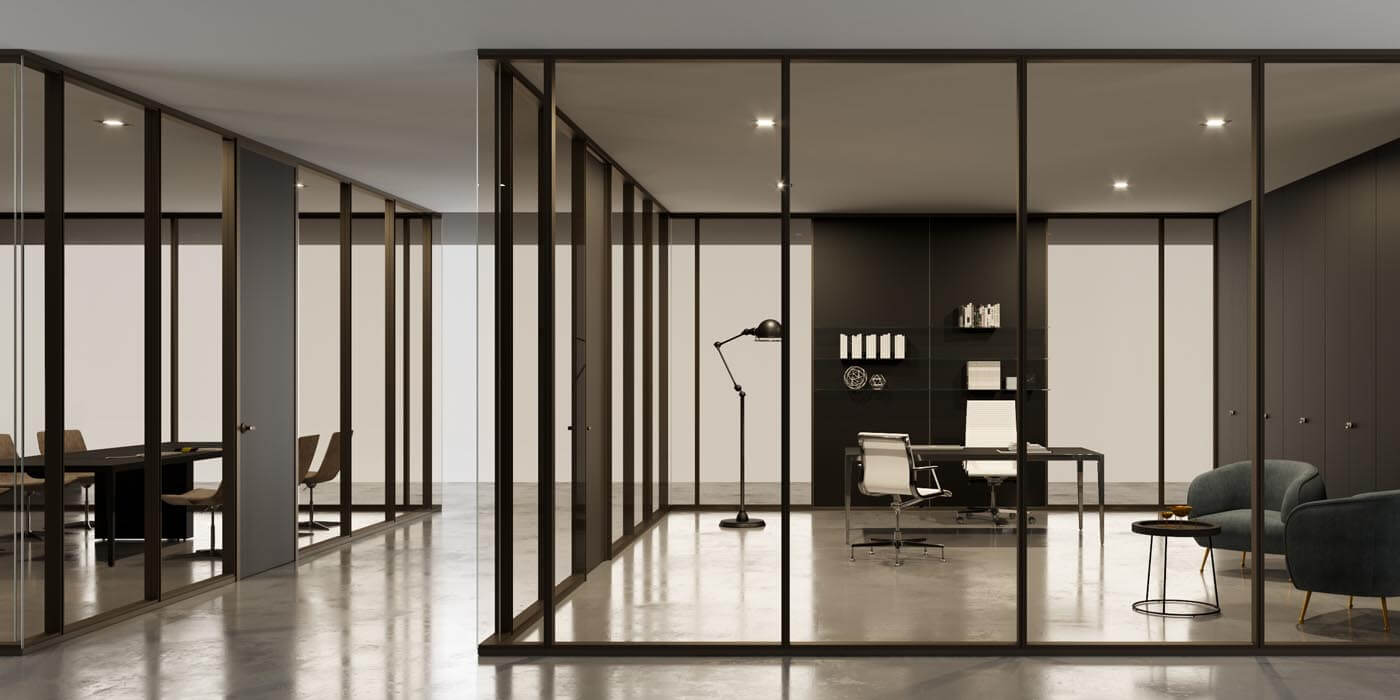 Modern, corporate offices designed with glass wall systems and dark trim using Transwall's BRIDGE product.