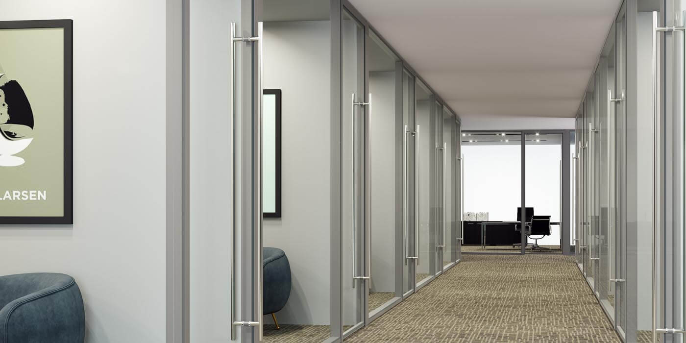 Hallway in office with Transwall's BRIDGE interior Glass Wall Systems