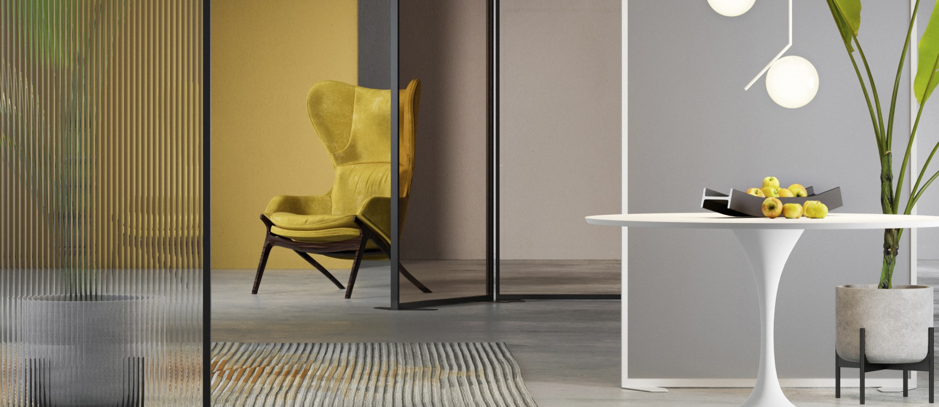 Free standing floor dividers between offices with a yellow chair and table with apples