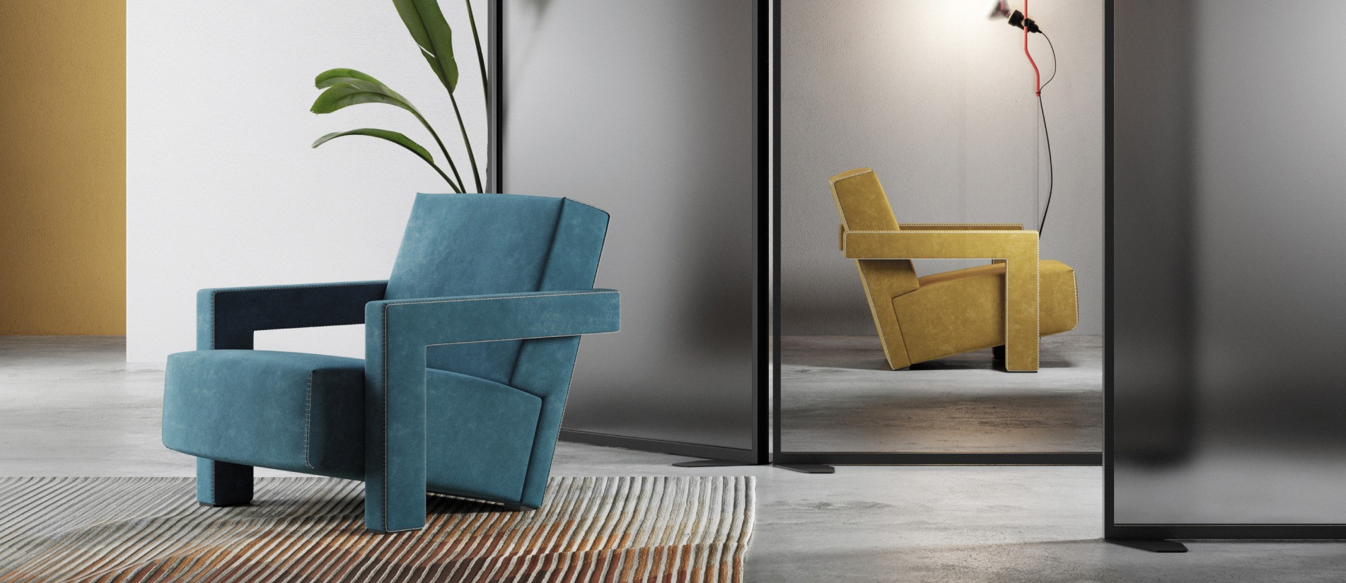A blue chair and yellow chair in two offices divided by a Transwall floor divider