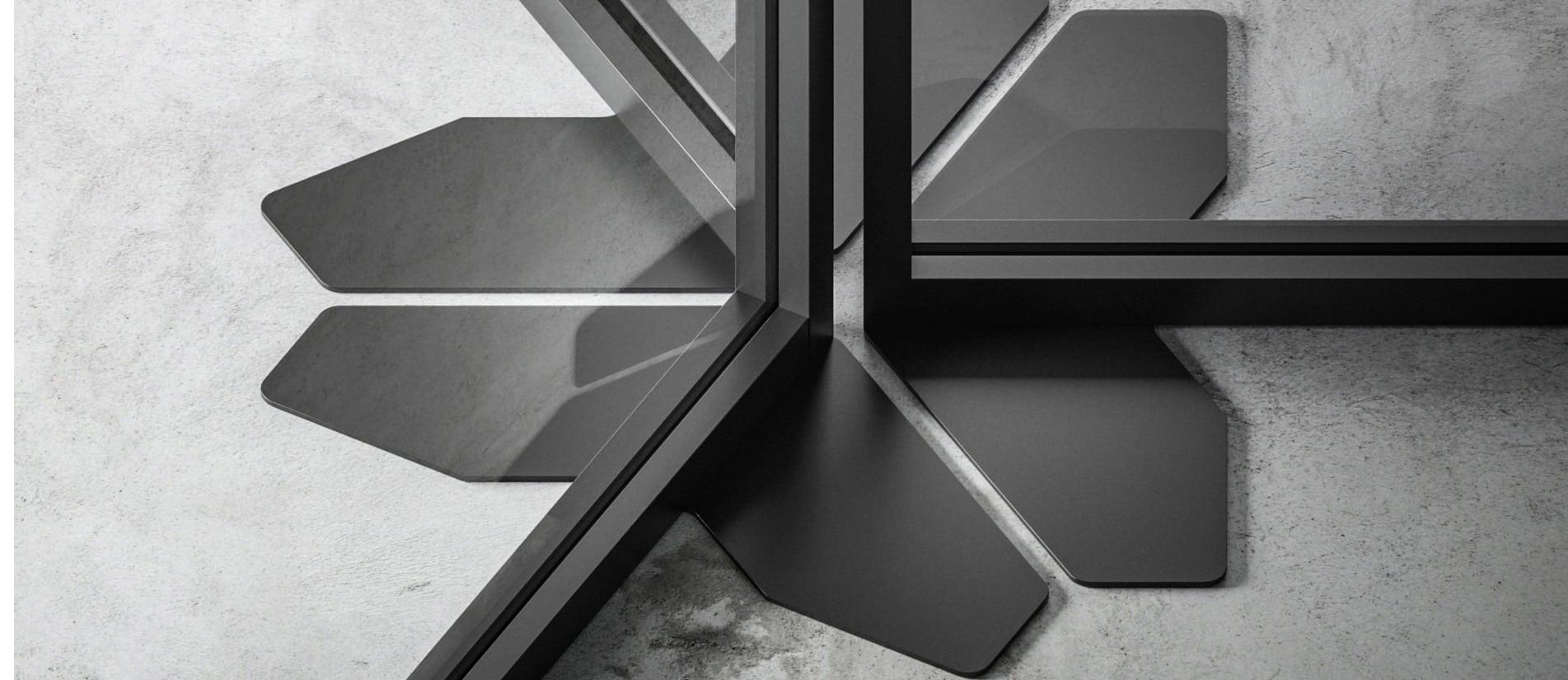 LUCID floor bracket in a powder coat finish by Transwall