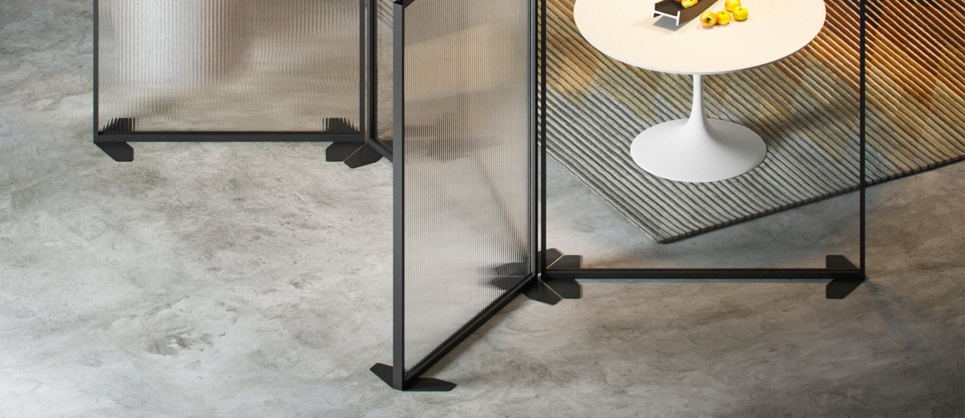 LUCID floor divider by Transwall with a standard powder coat finish