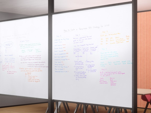 Transwall glass office Marker Board integrated with One LP movable glass office wall system