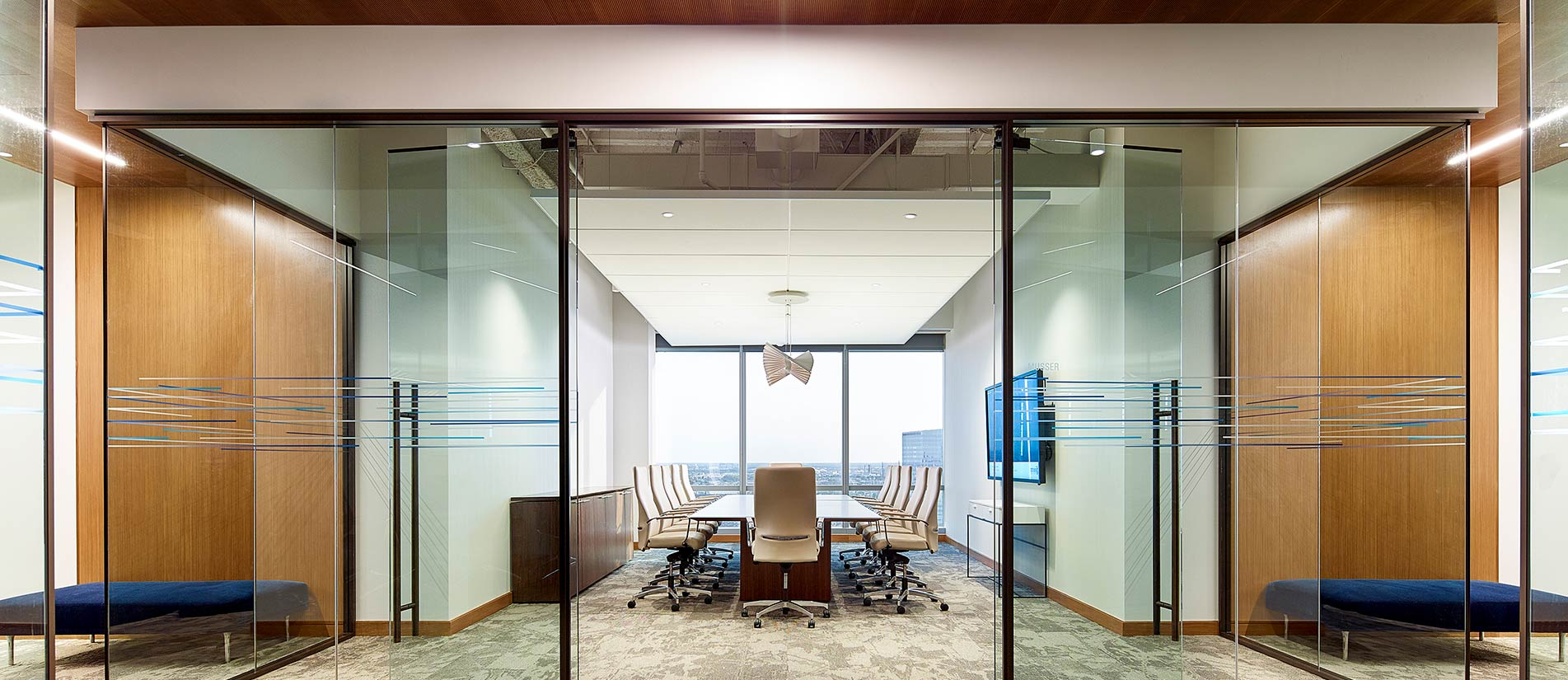 Large Conference Room created with One LP flexible glass office wall system and doors